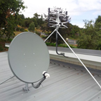 Satellite dish and UHF aerial
